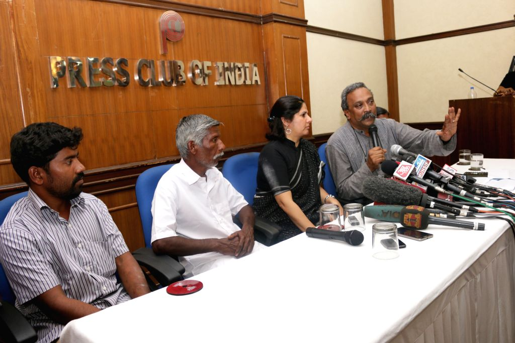 Rights activist Henri Tiphagne, Legal and human rights activist Vrinda Grover and others during a press conference regarding encounter of 20 alleged red sanders smugglers  in New Delhi, on ...