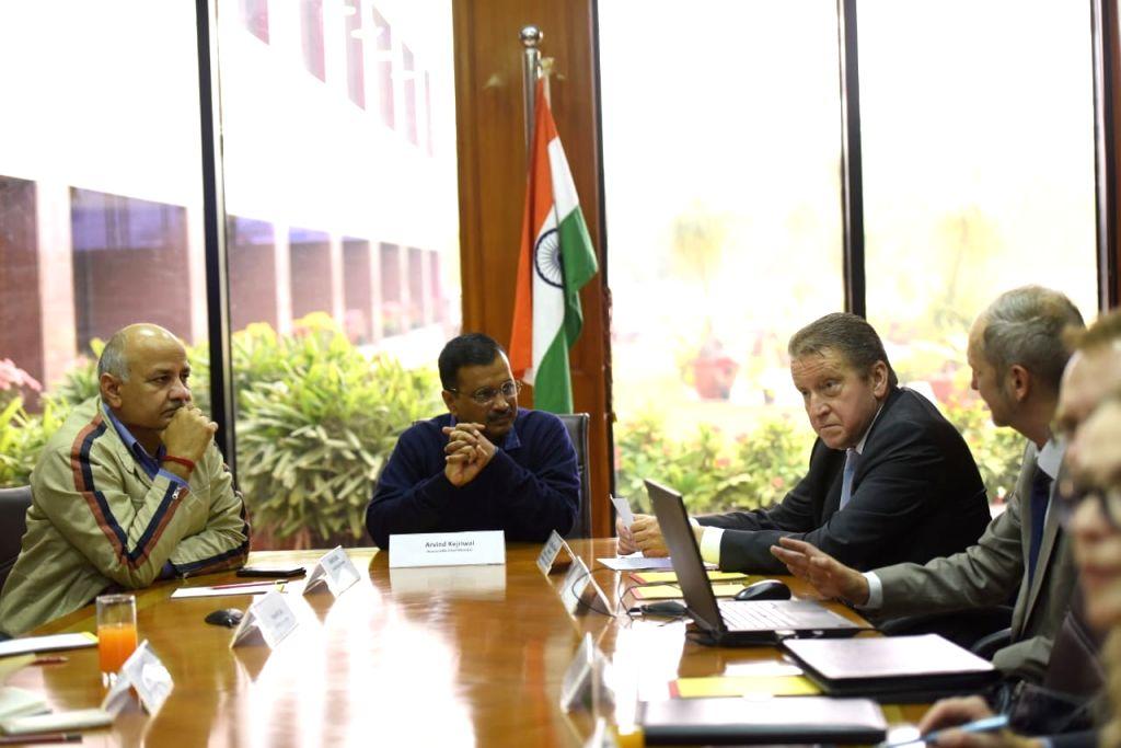 New Delhi: Russian Ambassador to India Nikolay Kudashev calls on Delhi Chief Minister Arvind Kejriwal in New Delhi on Dec 12, 2019. Also seen Delhi Deputy Chief Minister Manish Sisodia. (Photo: IANS) - Arvind Kejriwal