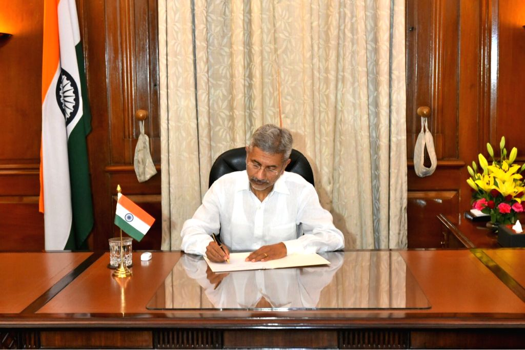 New Delhi: S. Jaishankar takes charge as the Union Minister for External Affairs at South Block, in New Delhi on May 31, 2019. (Photo: IANS)