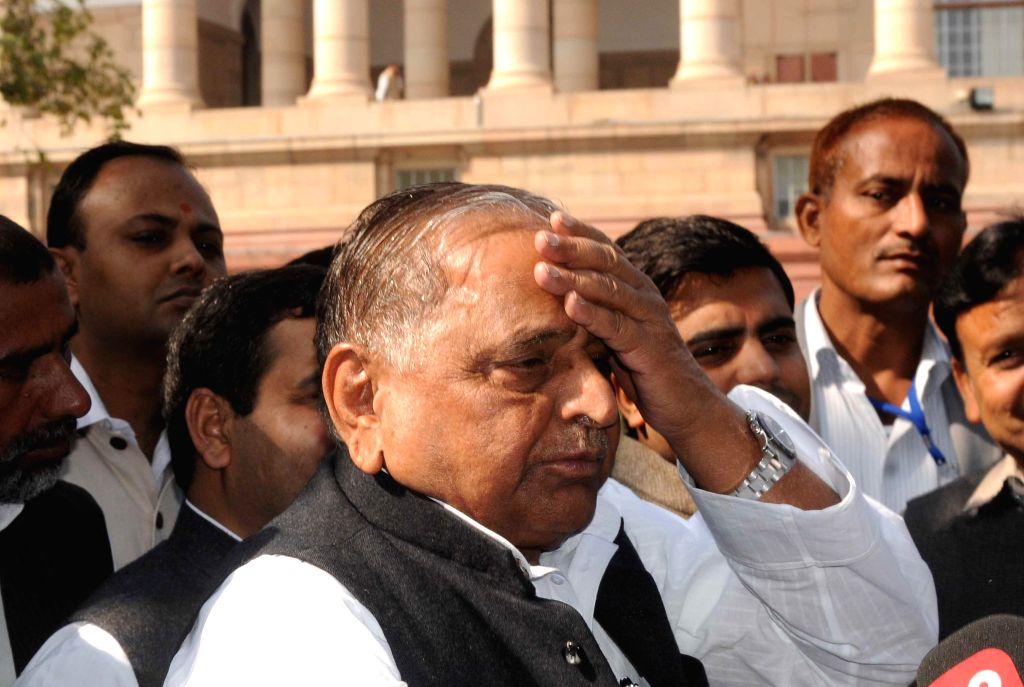Samajwadi Party chief Mulayam Singh Yadav at the Parliament premises in New Delhi, on Nov 25, 2014. - Mulayam Singh Yadav
