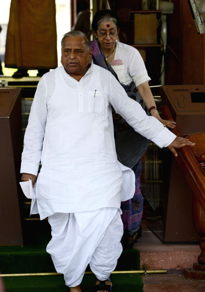 Samajwadi Party chief Mulayam Singh Yadav at the Parliament house in New Delhi, on April 24, 2015. - Mulayam Singh Yadav