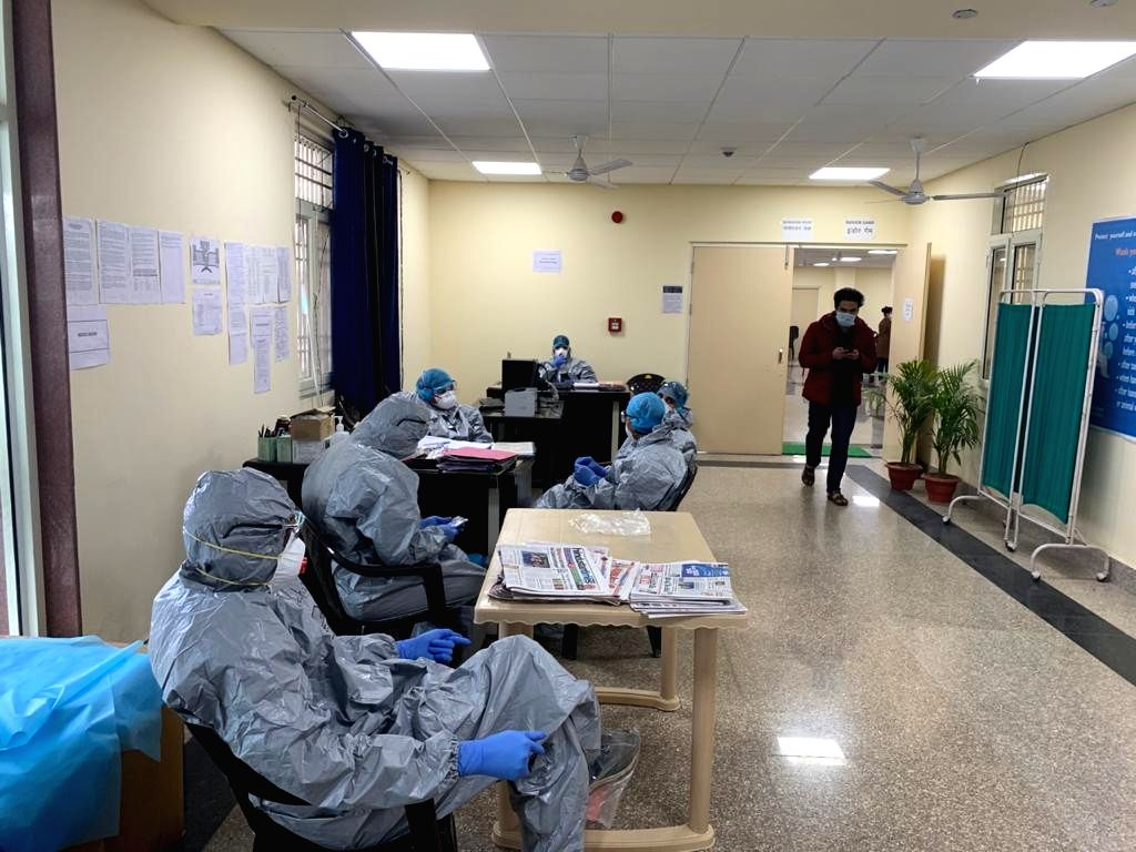 New Delhi: Samples of all 406 people who arrived from Wuhan, China collected for final test in view of the coronavirus outbreak, at ITBP Quarantine facility in Chhawla, New Delhi on Feb 14, 2020. Reports expected in 2-3 days. Periodical checkups also