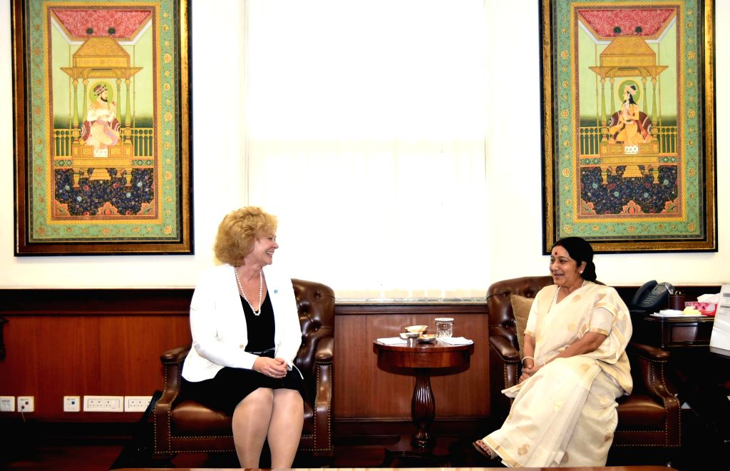 Secretary General of the Community of Democracies Maria Leissner calls on Union External Affairs Minister Sushma Swaraj in New Delhi, on March 30, 2015.