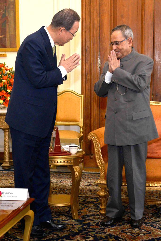 Secretary General of United Nations Ban Ki-Moon calls on President Pranab Mukherjee at Rashtrapati Bhavan in New Delhi, on Jan 13, 2015. - Pranab Mukherjee