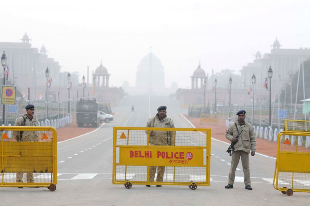 Security beefed-up on Rajpath on the eve of Republic Day in New Delhi, on Jan 25, 2015.