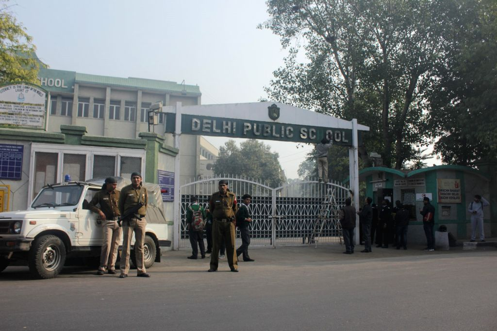 Security beefed-up outside a Delhi school in the wake of a terror attack in a school in Pakistan's Peshawar city that left atleast 148 people, mostly children, dead; in New Delhi on Dec ...
