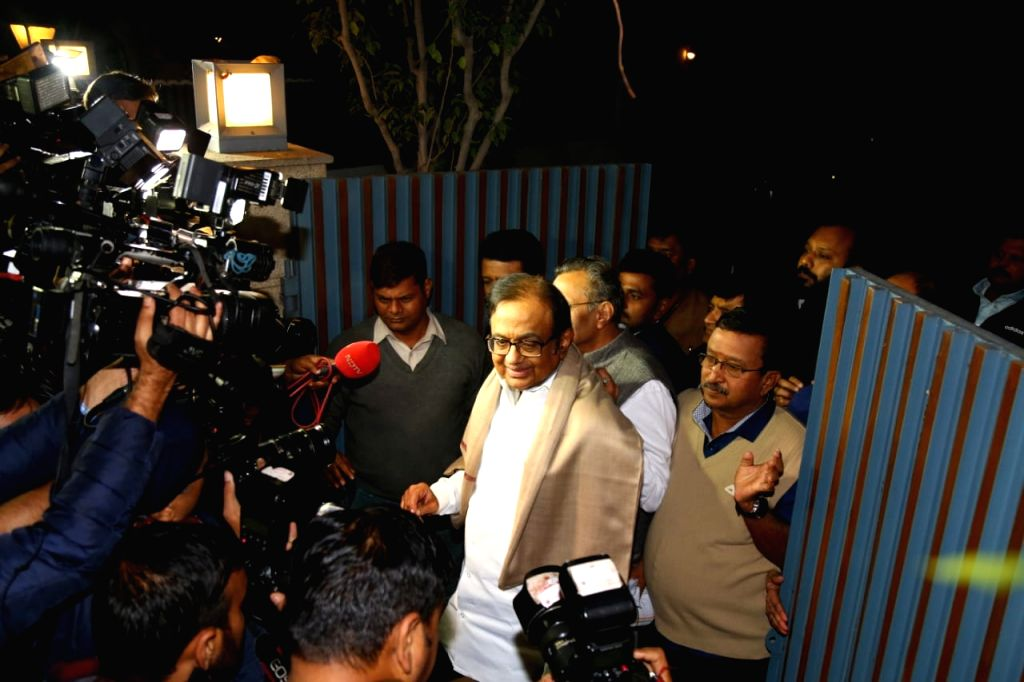 New Delhi: Senior Congress leader P Chidambaram arrives at his residence after being granted bail by the Supreme Court in the INX Media case, in New Delhi on Dec 4, 2019.