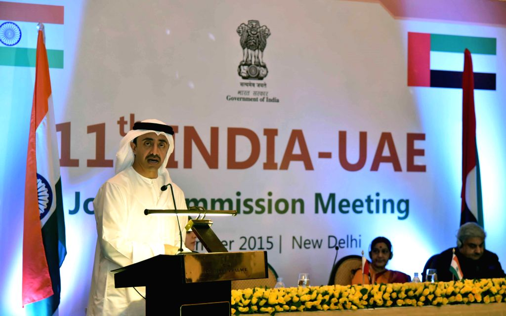 New Delhi: Sheikh Abdullah Bin Zayed Al-Nahyan, Minister of Foreign Affairs of United Arab Emirates addresses during India-UAE Joint Commission Meeting in New Delhi on Sep 3, 2015. (Photo: IANS/MEA)
