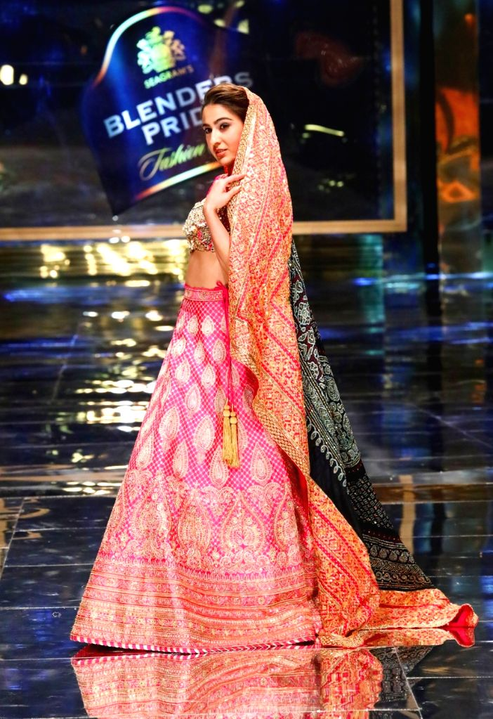 New Delhi: Showstopper Sara Ali Khan walks the ramp at the 15th edition of the Blenders Pride Fashion Tour 2019-20 in New Delhi. (Photo: IANS) - Sara Ali Khan