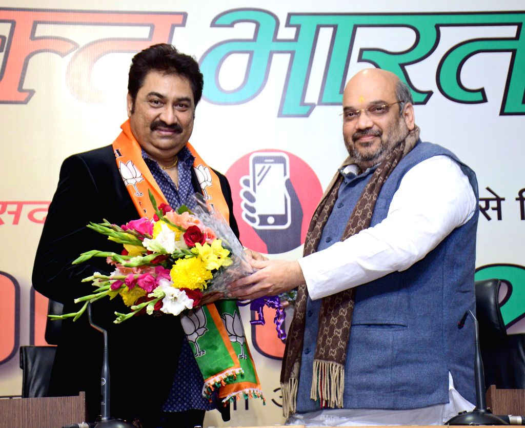 Singer Kumar Sanu joins BJP in presence of party chief Amit Shah in New Delhi, on Dec 2, 2014. - Amit Shah
