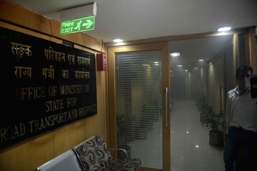 Smoke engulfs Transport Bhawan after a fire broke out on the third floor of the building in New Delhi on May 11, 2015.
