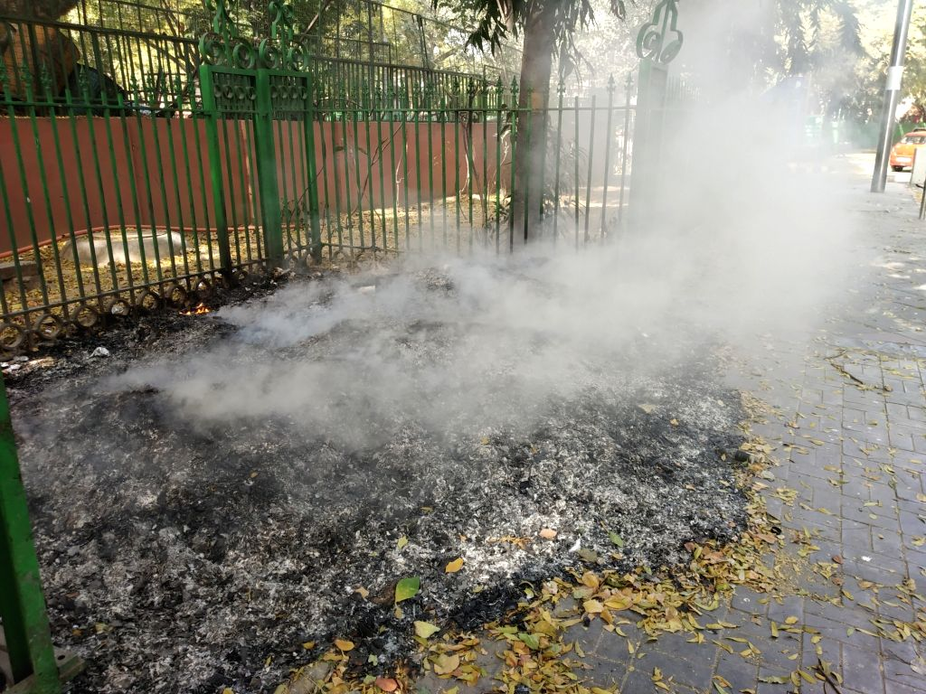 New Delhi: Smoke willows out of a pile of waste set on fire, adding to air pollution in New Delhi on March 23, 2019. (Photo: IANS)