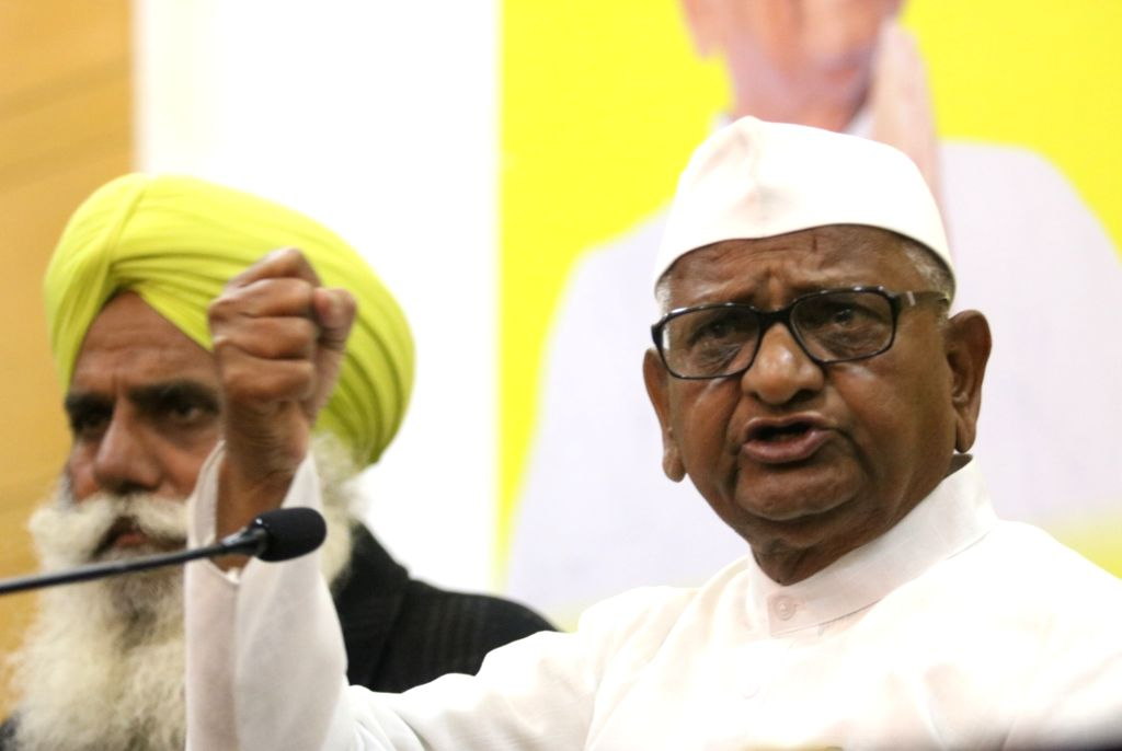 New Delhi: Social activist Anna Hazare addresses a press conference in New Delhi, on Jan 21, 2019. (Photo: IANS)