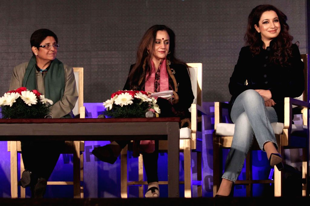 Social activist Dr Kiran Bedi, Journalist Nalini Singh and actress Tisca Chopra during a discussion on `Battling Demons: Inner and Outer` organised by Colours TV, in New Delhi on Jan. 13, . - Tisca Chopra, Kiran Bedi and Nalini Singh