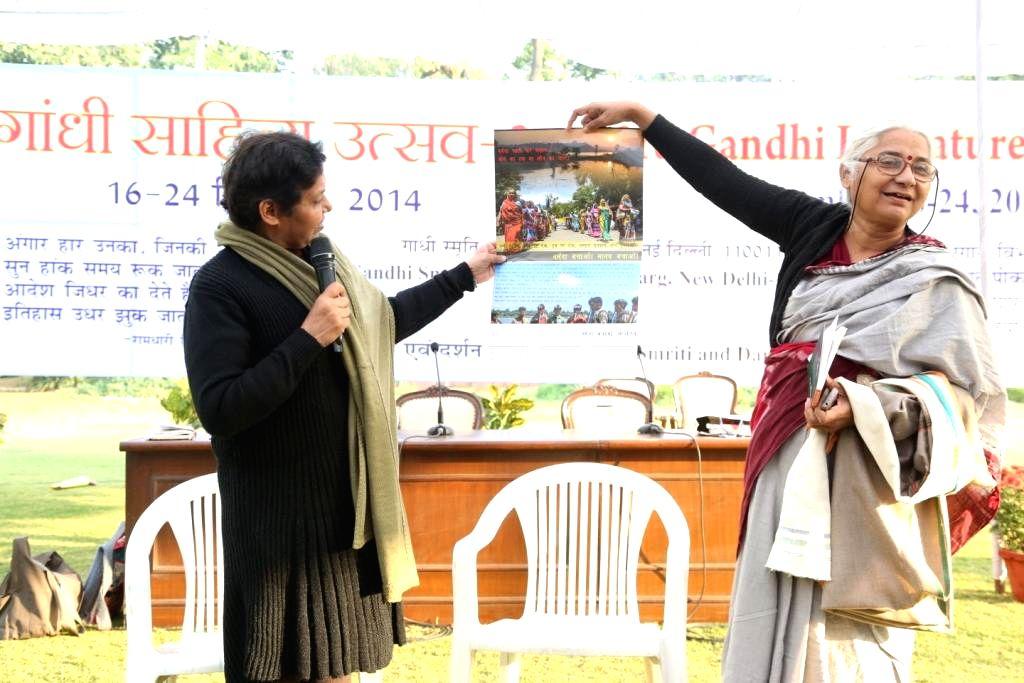 Social activist Medha Patkar at Gandhi Literature Festival 2014 in New Delhi, on Dec 24, 2014.