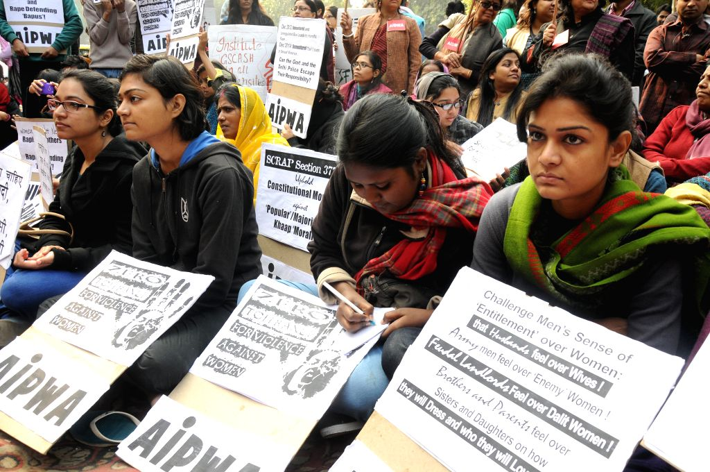 Social activists stage a demonstration to condemn 2012 Nirbhaya gangrape the  at Jantar Mantar in New Delhi on Dec 16, 2014.