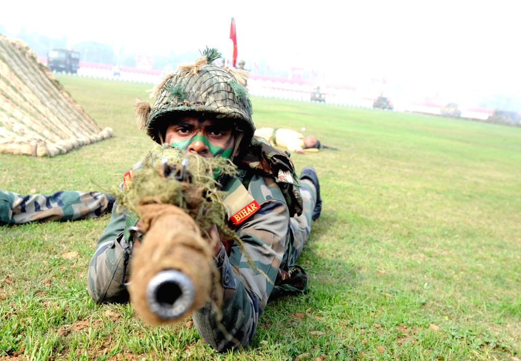 Soldiers display their skills during Army Day celebrations in New Delhi on Jan 15, 2015.