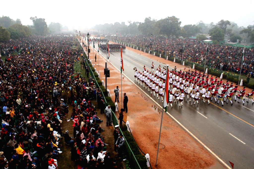 Soldiers march on Rajpath during Republic Day celebrations  in New Delhi, on Jan 26, 2015.