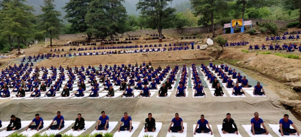 New Delhi: Soldiers of Indian Army and Royal Bhutan Army practice yoga asanas -postures- on International Yoga Day 2019; on June 21, 2019. (Photo: IANS/Indian Army)