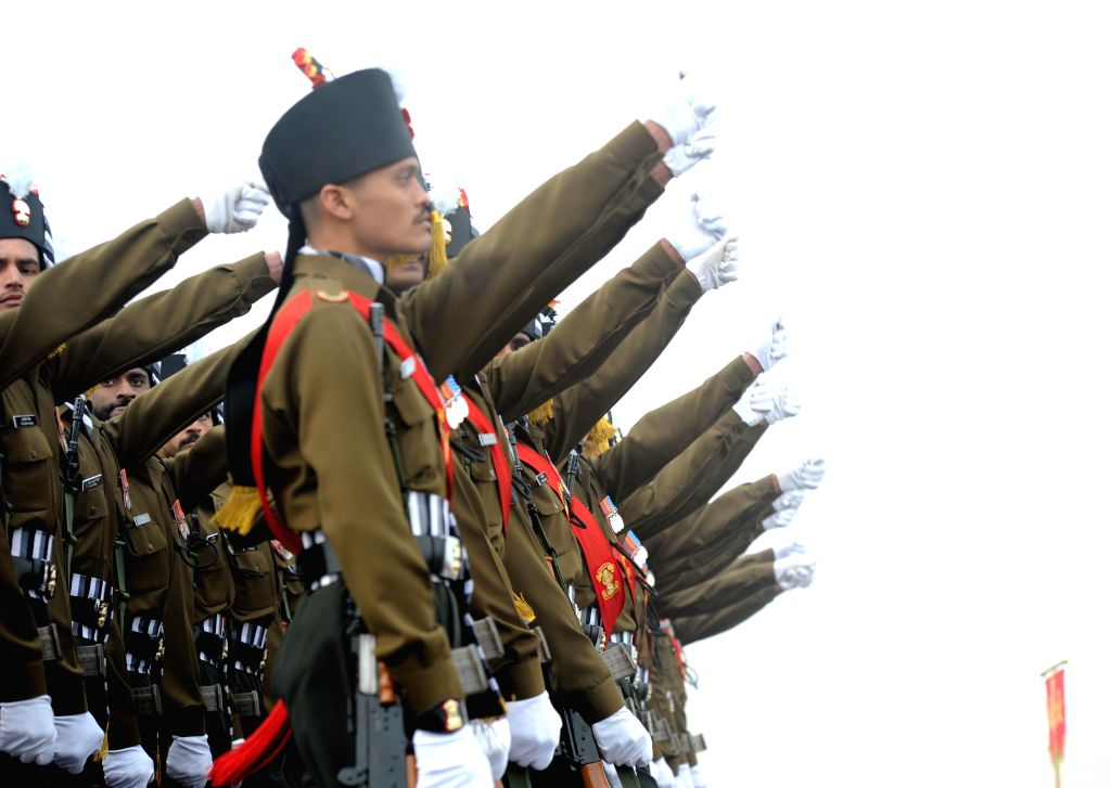 Soldiers participate in Army Day Parade in New Delhi, on Jan 15, 2015.