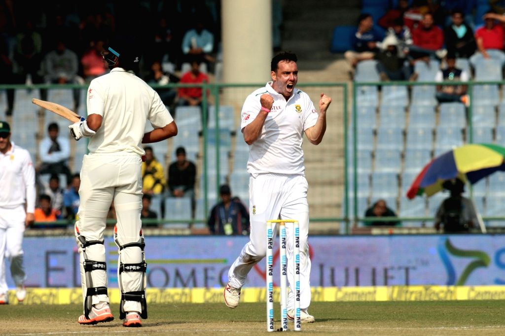 New Delhi: South African player Kyle Abbott celebrates fall of a wicket during the second day of the Fourth and the final test match between India and South Africa at the Feroz Shah Kotla Stadium in New Delhi on Dec. 4, 2015. (Photo: IANS)