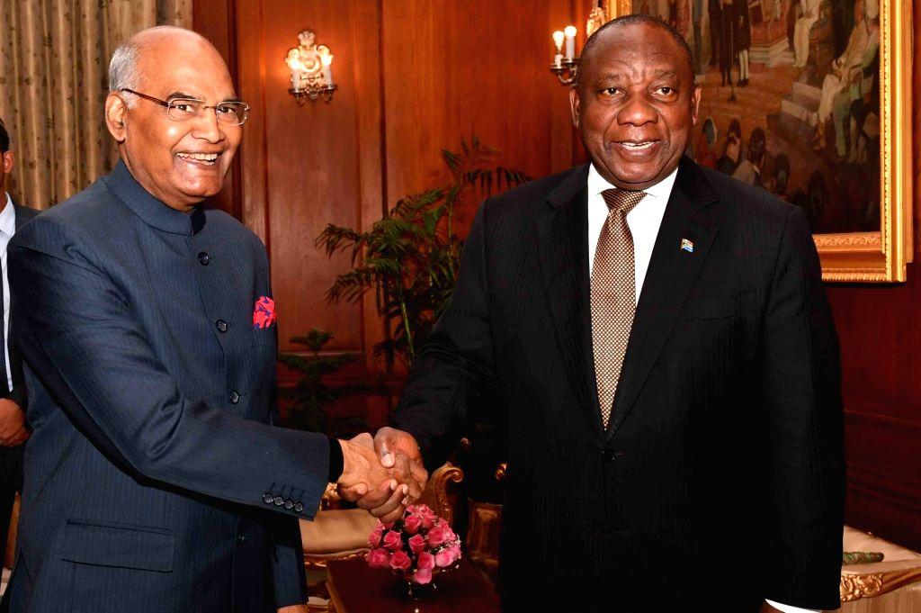 New Delhi: South African President Matamela Cyril Ramaphosa calls on President Ram Nath Kovind at Rashtrapati Bhawan in New Delhi on Jan 25, 2019. (Photo: IANS/RB) - Nath Kovind