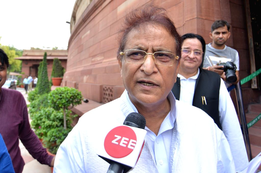 New Delhi: SP MP Azam Khan talks to media personnel at Parliament, in New Delhi on June 24, 2019. (Photo: IANS) - Azam Khan