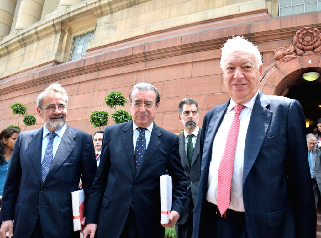 Spanish Foreign Affairs and Cooperation Minister Jose Manuel Garcia-Margallo comes out after meeting the Union Minister for Urban Development, Housing and Urban Poverty Alleviation and ... - Jose Manuel Garcia-Margallo and M. Venkaiah Naidu