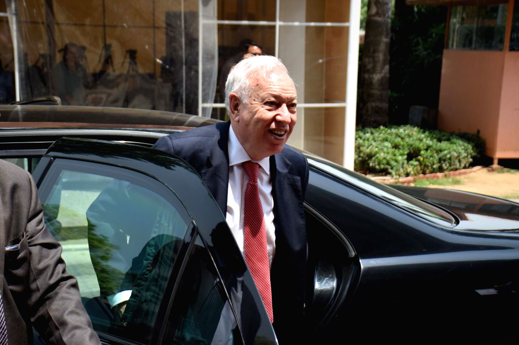 Spanish Foreign Affairs and Cooperation Minister Jose Manuel Garcia-Margallo arrives to meet the Union Minister for Urban Development, Housing and Urban Poverty Alleviation and ... - Jose Manuel Garcia-Margallo and M. Venkaiah Naidu