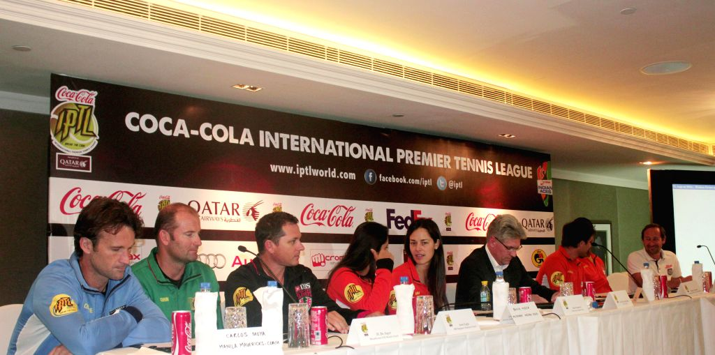 Sports persons including Indian tennis player Sania Mirza during an International Premier Tennis League press conference in New Delhi, on Dec 5, 2014. - Sania Mirza