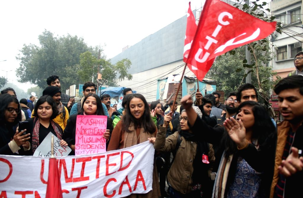 New Delhi: Students and members of various trade unions participate in a protest rally during a nationwide strike called by central trade unions against central government's disinvestment policies and their demand for scrapping of NPR, CAA and NRC, i