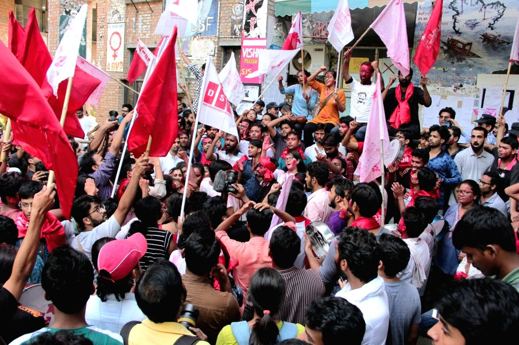 :New Delhi: Students celebrate after the United Left alliance won all the four top posts in the Jawaharlal Nehru University Students Union (JNUSU), leaving the ABVP and NSUI way behind, in New ...