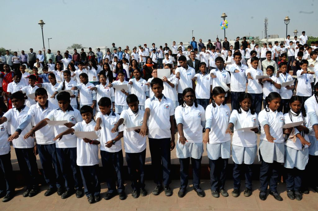 Students during a programme organised by Sulabh International on the eve of World Toilet Day in New Delhi, on Nov 18, 2014.