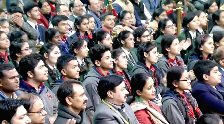 New Delhi: Students listening to Prime Minister Narendra Modi as he interacts with them during the 'Pariksha Pe Charcha' Townhall in New Delhi on Jan 20, 2020. (Photo: IANS) - Narendra Modi