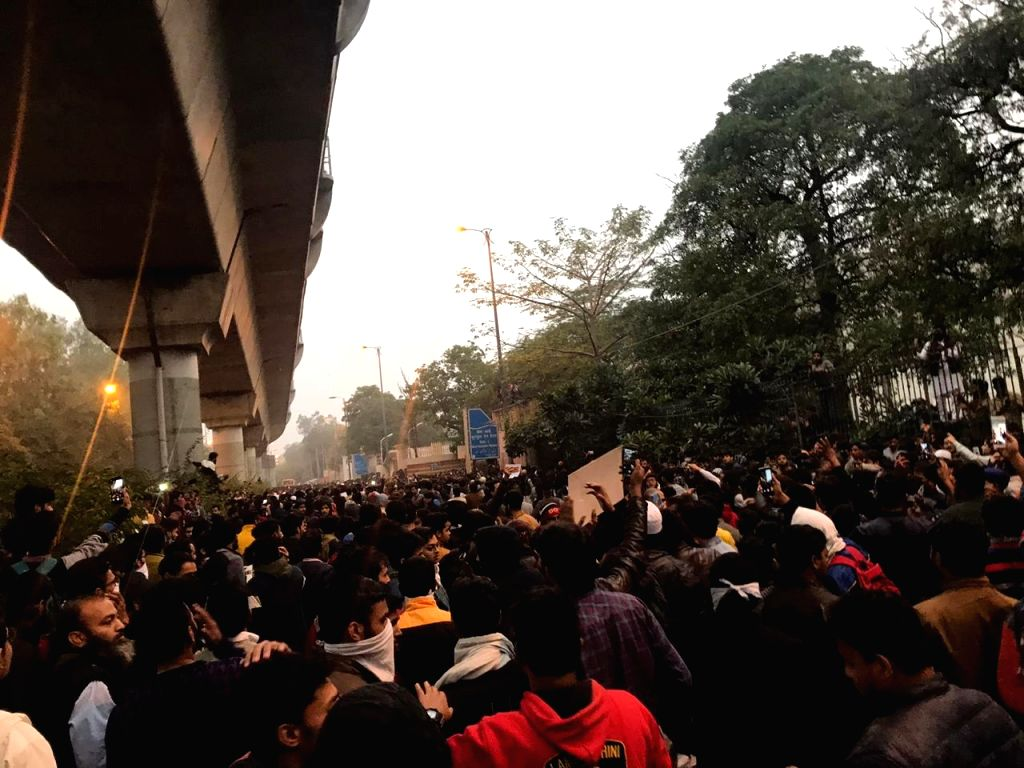 New Delhi: Students of Jamia Millia Islamia take out a protest march to Parliament to oppose the Citizenship Amendment Bill 2019 which has now become a law after being passed in both houses of Parliament, in New Delhi on Dec 13, 2019. Delhi Police on