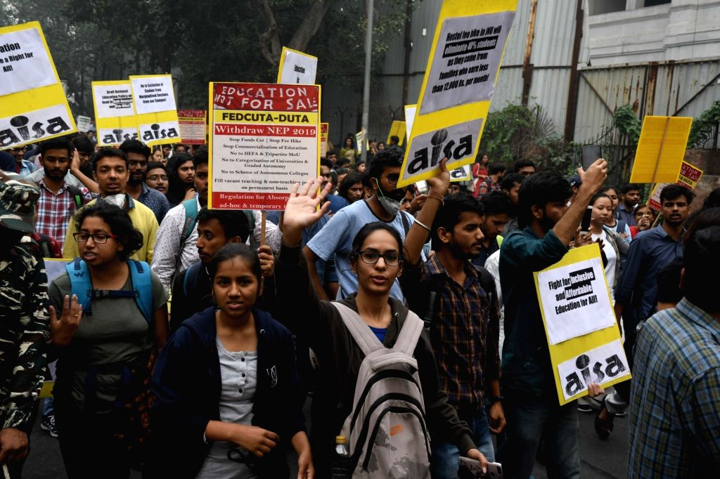 New Delhi: Students of Jawaharlal Nehru University (JNU) stage a demonstration against the alleged partial rollback in hostel fee hike, in New Delhi on Nov 14, 2019. (Photo: IANS)