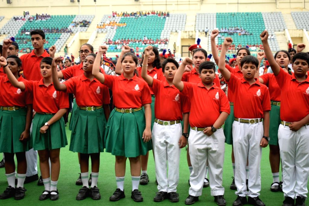 New delhi: Students representing their schools in the FIFA U-17 world cup during the Curtain Raiser function of FIFA Under 17 World Cup 2017 at Dhyan Chand National Stadium in New Delhi on Aug 19, ...