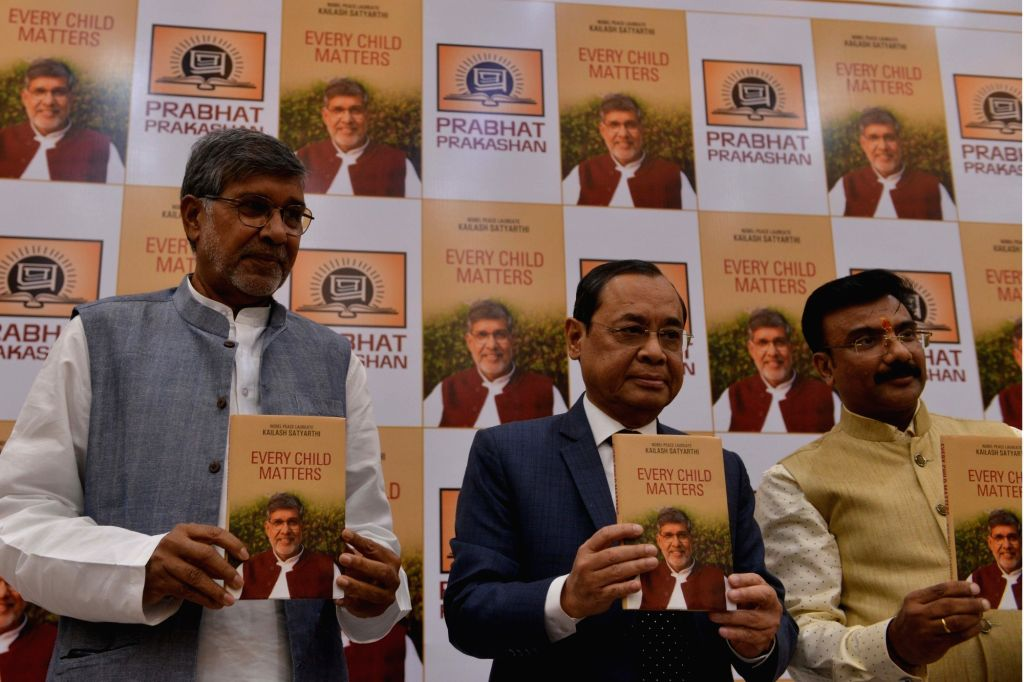 "New Delhi:Sulabh founder Kailash Satyarthi launches Justice Ranjan Gogoi's book ""Every Child Matters"" at Constitution Club in New Delhi on June 1, 2018. - Kailash Satyarthi"