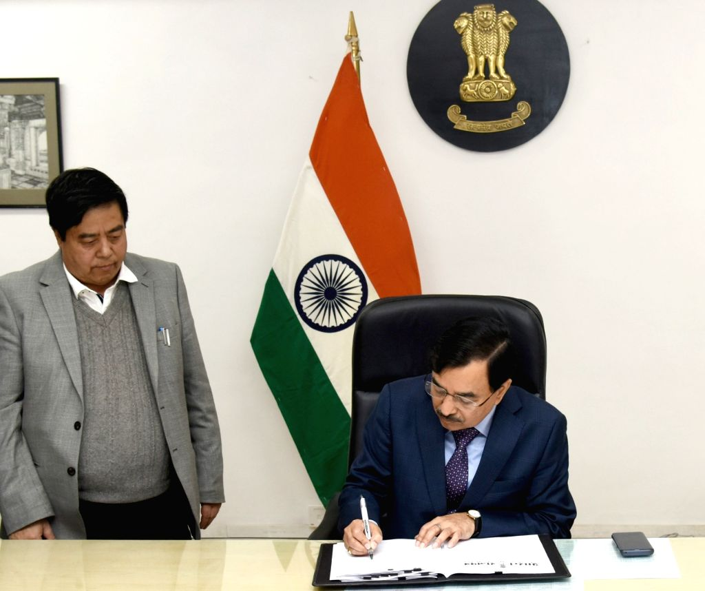 New Delhi: Sushil Chandra takes charge as the new Election Commissioner ahead of the Lok Sabha polls, making the poll panel a three-member entity again, in New Delhi, on Feb 15, 2019. The other two members of the Commission are Chief Election Commiss - Sunil Arora