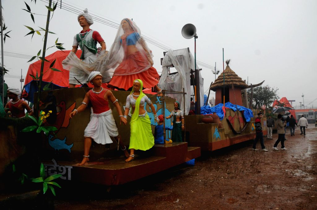 Tableaux that are going to participate in Republic Day Parade 2015 during a media preview in New Delhi, on Jan 22, 2015.