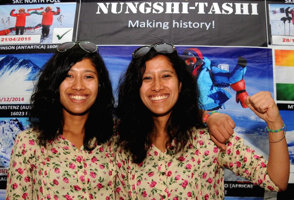Tashi and Nungshi Malik, 23-year-old look-alike twin sisters who returned from their journey to the North and the South pole during a press conference in New Delhi on April 28, 2015.