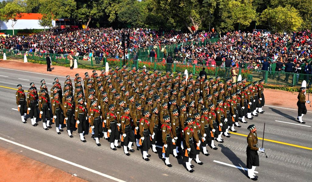 New Delhi: The 102 Infantry Battalion (Territorial Army) Punjab marches on Rajpath during 2019 Republic Day Parade in New Delhi on Jan 26, 2019. (Photo: IANS/PIB)