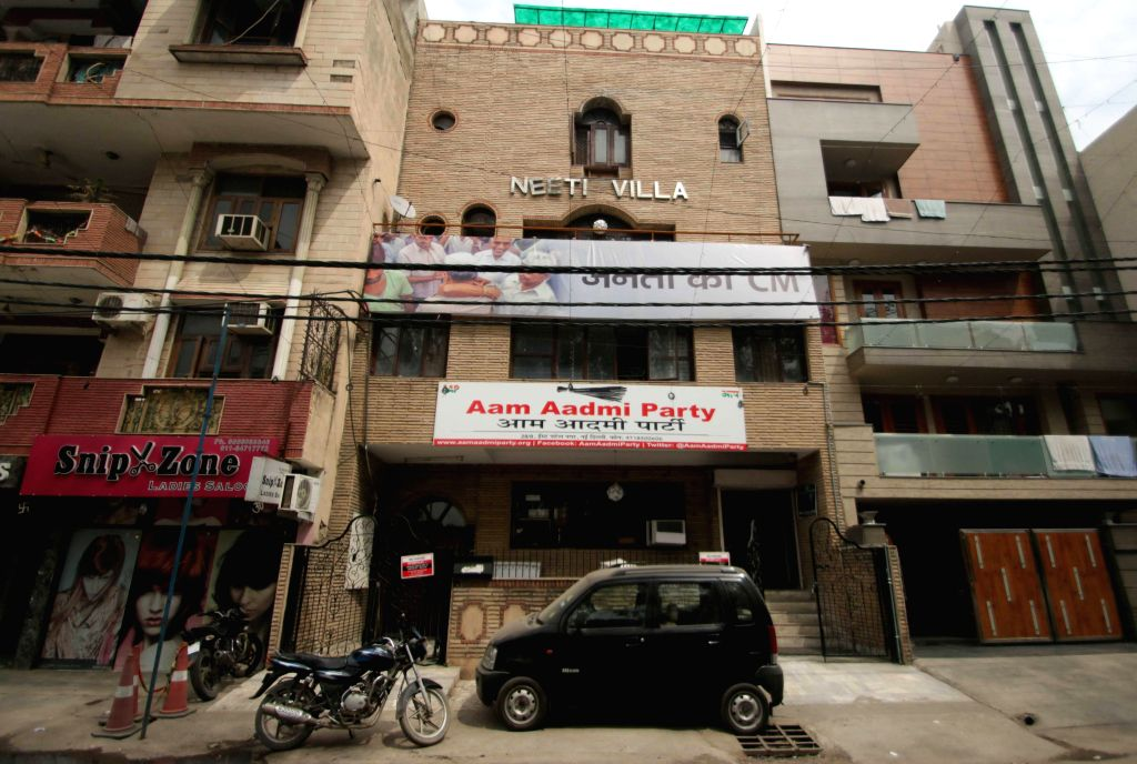 The Aam Aadmi Party (AAP) office at Patel Nagar in New Delhi, on March 13, 2015.