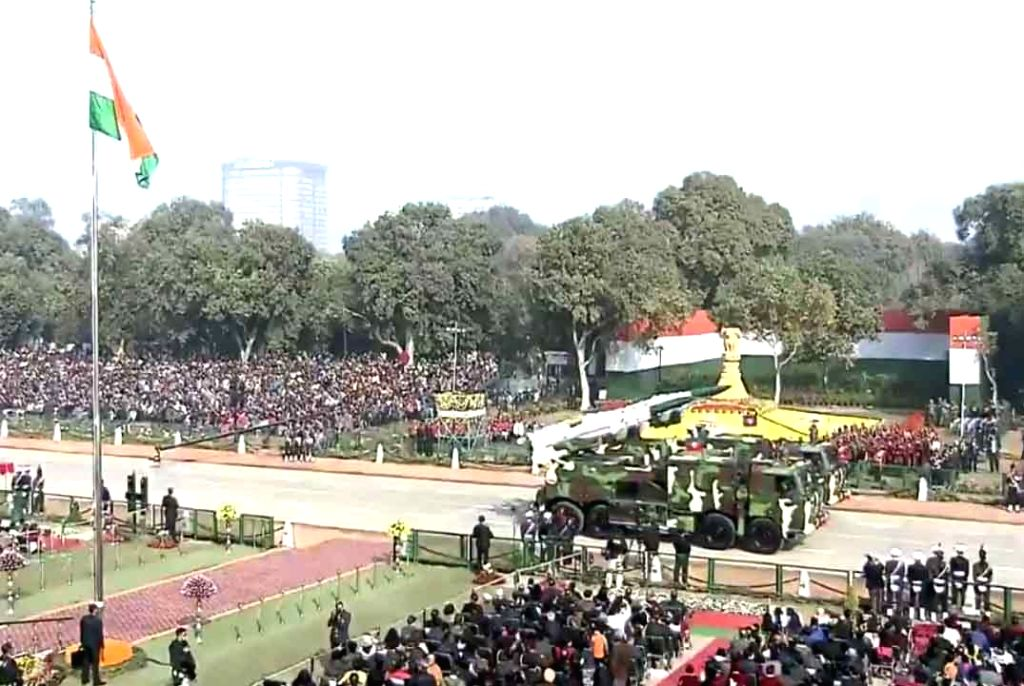 New Delhi: The Akash missile system rolls down the Rajpath during the 71st Republic Day parade, in New Delhi on Jan 26, 2020. (Photo: IANS/PIB)