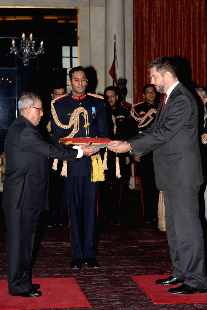 The Ambassador-Designate of Serbia Vladimir Maric presents his credentials to President Pranab Mukherjee, at Rashtrapati Bhavan, in New Delhi on Dec 9, 2014. - Pranab Mukherjee