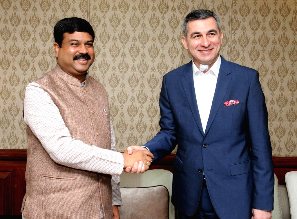 The Ambassador of Iraq to India, Ahmad Berwari calls on the Union Minister of State for Petroleum and Natural Gas (Independent Charge) Dharmendra Pradhan, in New Delhi on March 19, 2015.