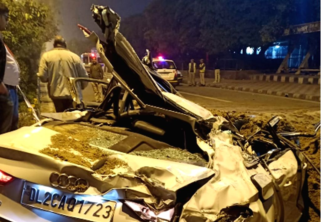New Delhi: The Audi car that was damaged after a speeding dumper overturned on it likking atleast three members of a family and injuring an infant in New Delhi on Feb 20, 2019. The deceased have been identified as Sumit, 29, his mother Ritu, 59, wife