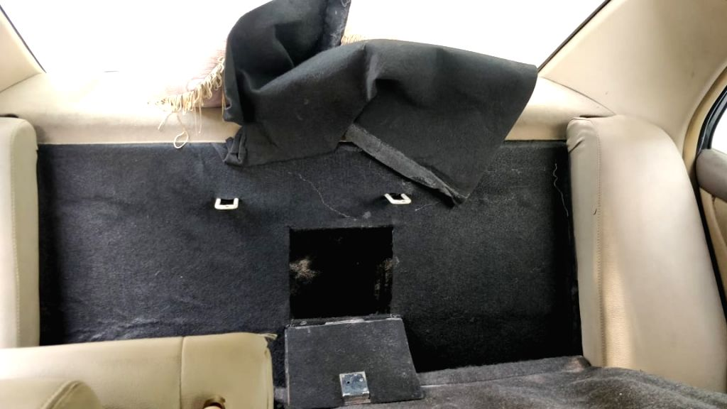 """New Delhi: The car where """"marijuana"""" was transferred by the two accused persons Sube Singh and Deepak from a truck on spotting the police, in New Delhi on July 19, 2019. The Delhi Police crime branch recovered 17 bags containing 510 kg """"ma - Sube Singh"""