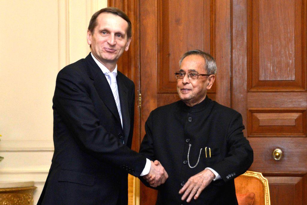 The Chairman of State Duma, Federal Assembly of Russian Federation, Sergey Naryshkin calls on President Pranab Mukherjee at Rashtrapati Bhavan in New Delhi on Feb 26, 2015. - Pranab Mukherjee