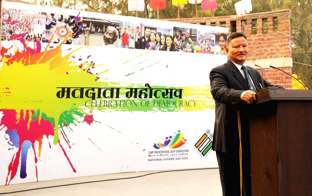 The Chief Election Commissioner H.S. Bramha addresses at the launch of the `Matdata Mahotsava`, in New Delhi on Jan 20, 2015.
